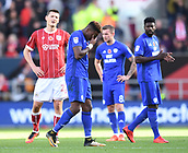 4th November 2017, Ashton Gate, Bristol, England; EFL Championship football, Bristol City versus Cardiff City; Omar Bogle of Cardiff City is given a red card for a dangerous tackle on Marlon Pack of Bristol City and leaves the field