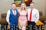 Enjoying the evening in the Ballyroe Heights Hotel on Saturday.<br /> L to r: Padraig O'Leary, Sarah Rael and Colm Scannell.
