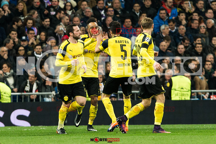 Borussia Dortmund Pierre Aubameyang, Marc Bartra during Champions League match between Real Madrid and Borussia Dortmund  at Santiago Bernabeu Stadium in Madrid , Spain. December 07, 2016. (ALTERPHOTOS/Rodrigo Jimenez) /NortePhoto.com