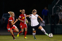 Sky Blue FC midfielder Sophie Schmidt (16) is marked by Western New York Flash defender Amy Barczuk (22). The Western New York Flash defeated Sky Blue FC 2-0 during a National Women's Soccer League (NWSL) semifinal match at Sahlen's Stadium in Rochester, NY, on August 24, 2013.