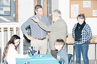Democratic presidential candidate and Congressional Representative Eric Swalwell (D-CA 15th) greets people before speaking at the Milford Democrats' Potluck Supper at the Unitarian Universalist Congregation Church in Milford, New Hampshire, USA, on Sat., Apr. 6, 2019. Swalwell is running primarily on gun control issues.