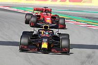 28th February 2020; Circuit De Barcelona Catalunya, Barcelona, Catalonia, Spain; Formula 1 Pre season Testing Week Two, Day 3; Aston Martin Red Bull Racing, Alexander Albon ahead of Charles Leclerc