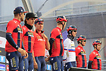 Bahrain-Merida team on stage at sign on before the 2019 Gent-Wevelgem in Flanders Fields running 252km from Deinze to Wevelgem, Belgium. 31st March 2019.<br /> Picture: Eoin Clarke | Cyclefile<br /> <br /> All photos usage must carry mandatory copyright credit (© Cyclefile | Eoin Clarke)