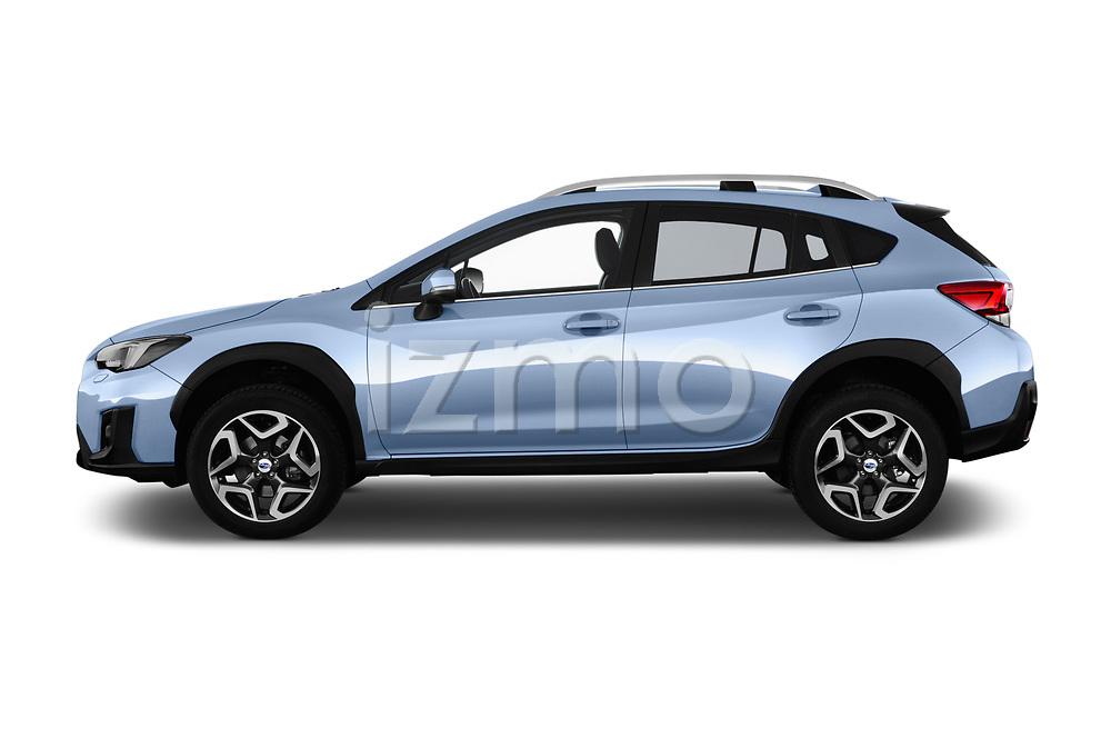 Car driver side profile view of a 2018 Subaru XV Premium 5 Door SUV