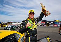 Jul 29, 2018; Sonoma, CA, USA; NHRA pro stock driver Jeg Coughlin Jr celebrates after winning the Sonoma Nationals at Sonoma Raceway. Mandatory Credit: Mark J. Rebilas-USA TODAY Sports