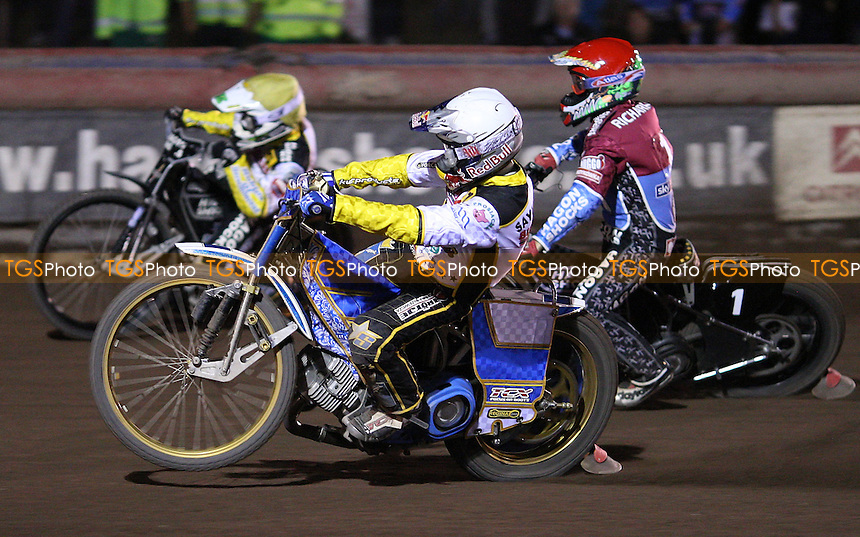Heat 13: Emil Sayfutdinov (white), Edward Kennett (yellow) and Lee Richardson (red) - Lakeside Hammers vs Coventry Bees, Elite League Speedway at the Arena Essex Raceway, Purfleet - 06/08/11 - MANDATORY CREDIT: Rob Newell/TGSPHOTO - Self billing applies where appropriate - 0845 094 6026 - contact@tgsphoto.co.uk - NO UNPAID USE.