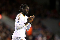 Eder applauds the fans during the Barclays Premier League Match between Liverpool and Swansea City played at Anfield, Liverpool on 29th November 2015