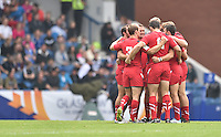 The Wales players in a pre-match huddle<br /> <br /> Australia Vs Wales - Men's quarter-final<br /> <br /> Photographer Chris Vaughan/CameraSport<br /> <br /> 20th Commonwealth Games - Day 4 - Sunday 27th July 2014 - Rugby Sevens - Ibrox Stadium - Glasgow - UK<br /> <br /> © CameraSport - 43 Linden Ave. Countesthorpe. Leicester. England. LE8 5PG - Tel: +44 (0) 116 277 4147 - admin@camerasport.com - www.camerasport.com