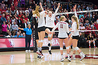 STANFORD, CA - November 15, 2017: Meghan McClure, Kathryn Plummer, Kate Formico, Audriana Fitzmorris, Jenna Gray, Morgan Hentz at Maples Pavilion. The Stanford Cardinal defeated USC 3-0 to claim the Pac-12 conference title.