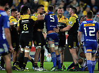 Vaea Fifita and Chris Van Zyl get to know one another during the Super Rugby match between the Hurricanes and Stormers at Westpac Stadium in Wellington, New Zealand on Friday, 5 May 2017. Photo: Mike Moran / lintottphoto.co.nz