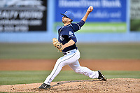 Asheville Tourists pitcher Kenny Oakley (17) delivers a pitch during a game against the West Virginia Power at McCormick Field on May 11, 2017 in Asheville, North Carolina. The Power defeated the Tourists 2-1. (Tony Farlow/Four Seam Images)