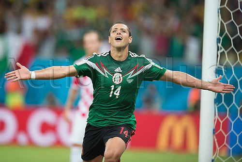 23.06.2014. Itaipava Arena Pernambuco, Recife, Brazil.  Croatia versus Mexico, Group A match World Cup Brazil 2014 Match. Javier Hernandez celebration