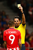 31st October 2017, Wanda Metropolitano, Madrid, Spain; UEFA Champions League, Atletico Madrid versus Qarabag FK; Fernando Torres (9) of Atletico Madrid receives a yellow card
