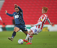 Blackburn Rovers Bradley Dack in action with Stoke City's Ryan Woods<br /> <br /> Photographer Mick Walker/CameraSport<br /> <br /> The EFL Sky Bet Championship - Stoke City v Blackburn Rovers - Saturday 30th November 2019 - bet365 Stadium - Stoke-on-Trent<br /> <br /> World Copyright © 2019 CameraSport. All rights reserved. 43 Linden Ave. Countesthorpe. Leicester. England. LE8 5PG - Tel: +44 (0) 116 277 4147 - admin@camerasport.com - www.camerasport.com