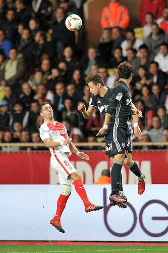 26.11.2016. Monaco, France. French League 1 football. Monaco versus Marseille.  26 FLORIAN THAUVIN (om) challenges JOAO MOUTINHO (asm)