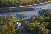 House overlooking barge on Tennessee River