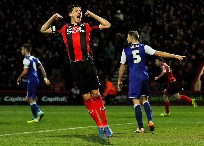 Bournemouth's Tommy Elphick celebrates the disallowed goal.<br /> <br /> Photo by James Marsh/CameraSport<br /> <br /> Football - The Football League Sky Bet Championship - AFC Bournemouth v Ipswich Town - Sunday 29th December 2013 - Goldsands Stadium - Bournemouth<br /> <br /> &copy; CameraSport - 43 Linden Ave. Countesthorpe. Leicester. England. LE8 5PG - Tel: +44 (0) 116 277 4147 - admin@camerasport.com - www.camerasport.com