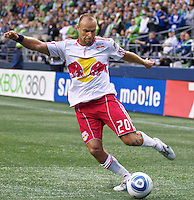 New York Red Bulls forward Joel Lindpere passes during play against the Seattle Sounders FC at Qwest Field in Seattle Saturday June 23, 2011. The Sounders won the game 4-2.