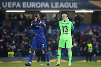 Antonio Rudiger and Willy Caballero applaud the home fans at the final whistle as they celebrate Chelsea's victory during Chelsea vs Malmo FF, UEFA Europa League Football at Stamford Bridge on 21st February 2019