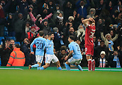 9th January 2018, Etihad Stadium, Manchester, England; Carabao Cup football, semi-final, 1st leg, Manchester City versus Bristol City; Sergio Aguero of Manchester City celebrates scoring the winning goal and making it 2-1 in the 92nd minute