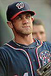 16 May 2012: Washington Nationals outfielder Bryce Harper stands in the dugout prior to a game against the Pittsburgh Pirates at Nationals Park in Washington, DC. The Nationals defeated the Pirates 7-4 in the first game of their 2-game series. Mandatory Credit: Ed Wolfstein Photo