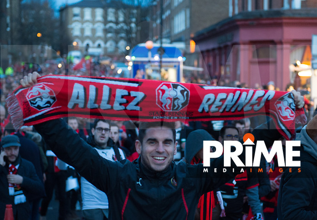Rennes fans before the UEFA Europa League match between Arsenal and Rennes at the Emirates Stadium, London, England on 14 March 2019. Photo by Andrew Aleksiejczuk / PRiME Media Images.