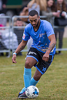Josh Daniel of X-Factor in action during the SOCCER SIX Celebrity Football Event at the Queen Elizabeth Olympic Park, London, England on 26 March 2016. Photo by Andy Rowland.