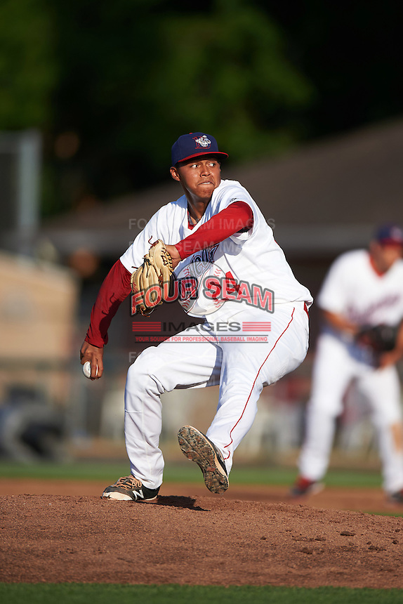 Auburn Doubledays relief pitcher Steven Fuentes (24) during a game against the Mahoning Valley Scrappers on July 17, 2016 at Falcon Park in Auburn, New York.  Mahoning Valley defeated Auburn 3-2.  (Mike Janes/Four Seam Images)