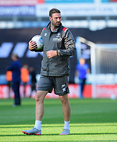 Lincoln City's first team coach Jamie McCombe during the pre-match warm-up<br /> <br /> Photographer Chris Vaughan/CameraSport<br /> <br /> The Carabao Cup First Round - Huddersfield Town v Lincoln City - Tuesday 13th August 2019 - John Smith's Stadium - Huddersfield<br />  <br /> World Copyright © 2019 CameraSport. All rights reserved. 43 Linden Ave. Countesthorpe. Leicester. England. LE8 5PG - Tel: +44 (0) 116 277 4147 - admin@camerasport.com - www.camerasport.com