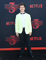 "28 June 2019 - Santa Monica, California - Gaten Matarazzo. ""Stranger Things 3"" Los Angeles Premiere held at Santa Monica High School. Photo Credit: Birdie Thompson/AdMedia"
