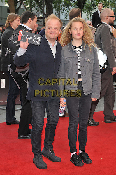 LONDON, ENGLAND - MAY 21: Toby Jones &amp; his daughter attend the &quot;San Andreas&quot; world film premiere, Odeon Leicester Square cinema, Leicester Square, on Thursday May 21, 2015 in London, England, UK. <br /> CAP/CAN<br /> &copy;CAN/Capital Pictures