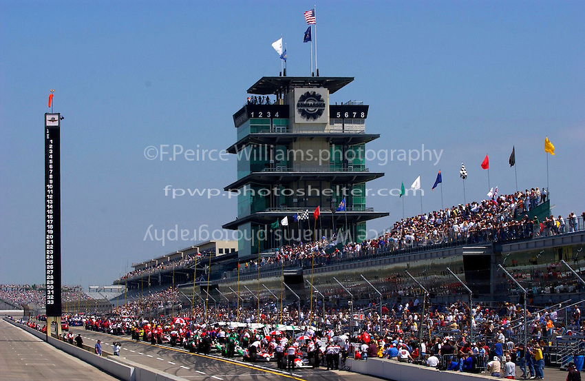 "Carburation Day for the 87th Indianapolis 500, Indianapolis Motor Speedway, Speedway, Indiana, USA  22 May,2003.The Scoring Pylon, Pagoda and flags on ""Carb Day"" morning..World Copyright©F.Peirce Williams 2003 .ref: Digital Image Only..F. Peirce Williams .photography.P.O.Box 455 Eaton, OH 45320.p: 317.358.7326  e: fpwp@mac.com.."