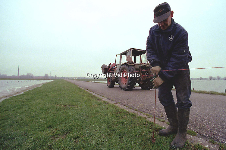 Foto: VidiPhoto..HETEREN - Terwijl de uiterwaarden langzaam vollopen, markeert boer A. Degen uit Heteren nog even snel de toegangsweg naar zijn boerderij. Hij verwacht dat de Renkumse veerweg onder water komt te staan. Met zijn tractor kan hij dan nog een tijdje vanuit zijn boerderij in de uiterwaarden de bewoonde wereld .bereiken. Maar dan moet de weg wel gemarkeerd zijn. .(tel. 026-4722762, of 026-4722485)