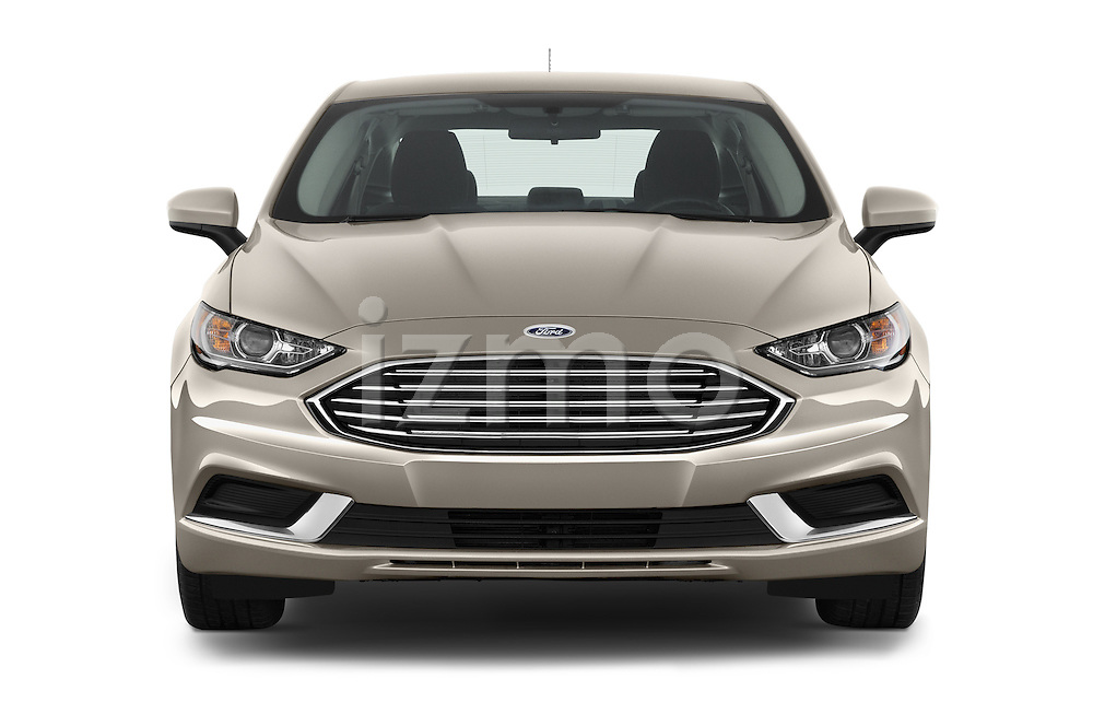 Car photography straight front view of a 2017 Ford Fusion-Hybrid Hybrid-SE 4 Door Sedan Front View