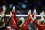 KANSAS CITY, KS - DECEMBER 14: The University of Nebraska huddles up against Penn State University during the Division I Women's Volleyball Semifinals held at Sprint Center on December 14, 2017 in Kansas City, Missouri. (Photo by Tim Nwachukwu/NCAA Photos via Getty Images)