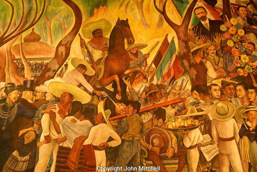 Detail of Dream of a Sunday Afternoon in the Alameda or Sueno de una Tarde Dominical en la Alameda mural by Diego Rivera, Mexico City.