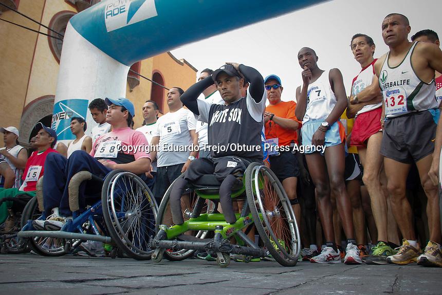 San Juan del Río, Qro.- Personas con diferentes discapacidades participan en competencia de atletismo y maratón. Foto Eduardo Trejo/ OPA