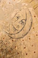 Europe/France/Aquitaine/24/Dordogne/Montferrand-du-Périgord:L'ancienne église Saint-Christophe présente des peintures murales à l'intérieur.<br /> Les peintures Gothiques: La Lune et la nuit étoilée