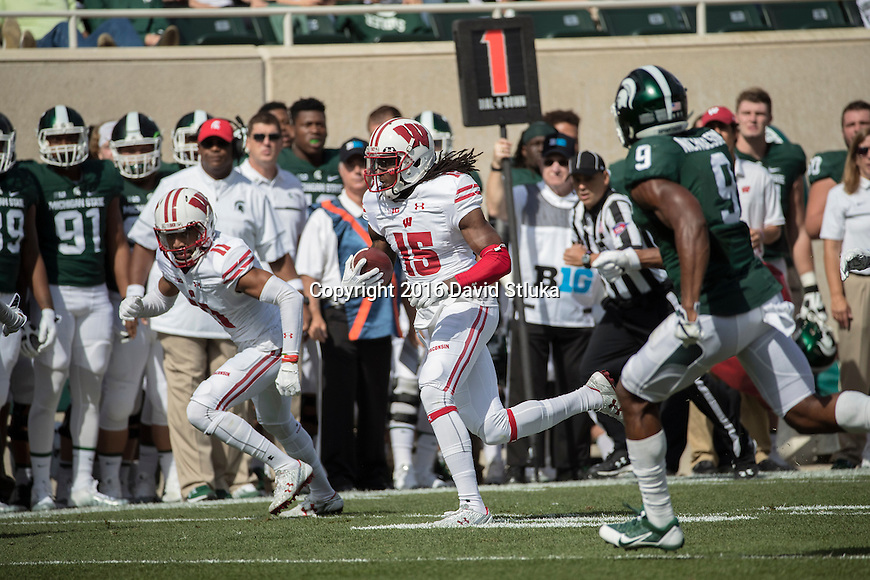 Wisconsin Badgers wide receiver Rob Wheelwright (15) runs after a reception during an NCAA college football game against the Michigan State Spartans Saturday, September 24, 2016, in East Lansing, Michigan.  (Photo by David Stluka)