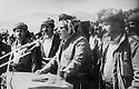 Iraq   1984 <br /> Jalal Talabani giving a speech for nowruz on march 21st with informations concerning negociations with Baghdad, around him,Mullazem Omar, Arsalan Baez, Jabar Fermand<br /> Irak 1984<br /> Discours de Jalal Talabani informant ses partisans sur ses negociations avec Bagdad, le 21 mars jour de Nowruz. Il est entoure de Mullazem Omar, Arsalan Baez, jabar Fermand