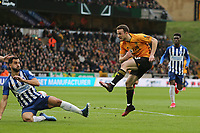Diogo Jota of Wolverhampton Wanderers has his shot blocked by Martín Montoya of Brighton & Hove Albion during Wolverhampton Wanderers vs Brighton & Hove Albion, Premier League Football at Molineux on 7th March 2020