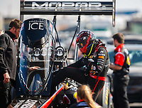 Feb 23, 2018; Chandler, AZ, USA; NHRA top fuel driver Leah Pritchett during qualifying for the Arizona Nationals at Wild Horse Pass Motorsports Park. Mandatory Credit: Mark J. Rebilas-USA TODAY Sports