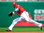 20 June 2010: Washington Nationals' shortstop Ian Desmond attempts to snag a line drive but is unable to get a handle on it during action against the Chicago White Sox at Nationals Park in Washington, DC. The Nationals were swept by the White Sox falling 6-3 in the last game of their 3-game interleague series. Mandatory Credit: Ed Wolfstein Photo