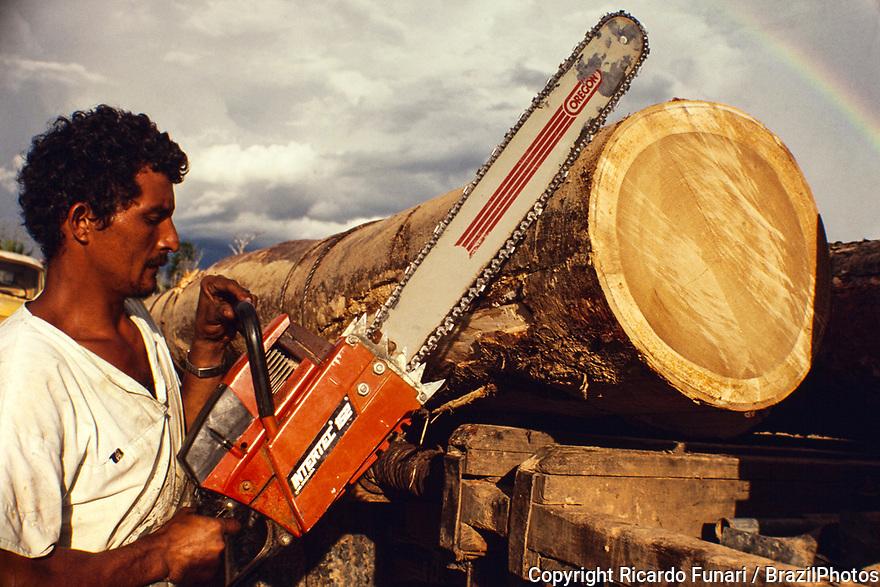 Logging, Amazon rainforest deforestation, transportation of heavy and big tree truncks, Acre State, Brazil.