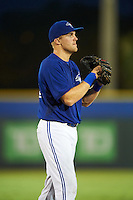 GCL Blue Jays third baseman Mitch Nay (62) during the second game of a doubleheader against the GCL Phillies on August 15, 2016 at Florida Auto Exchange Stadium in Dunedin, Florida.  GCL Phillies defeated the GCL Blue Jays 4-0.  (Mike Janes/Four Seam Images)