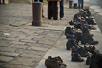 Shoe statues along Danube river, Budapest