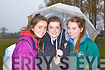 RUNNING IN THE RAIN: Orna Foley, Clara Heinrich and Aoife O'Carroll taking part in the Boherbue-Cloghers-Manor community games at the Tralee Harriers athletic club on Friday.