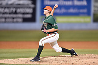 Greensboro Grasshoppers pitcher Ben Meyer (23) delivers a pitch during a game against the Asheville Tourists at McCormick Field on April 28, 2017 in Asheville, North Carolina. The Grasshoppers defeated the Tourists 3-2. (Tony Farlow/Four Seam Images)