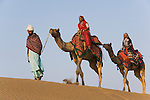 Rajasthani dancers in traditional costumes riding on camels crossing sand dunes in the Thar Desert;Rajasthan, India --- Model Released