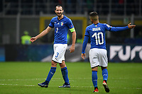 Giorgio Chiellini and Lorenzo Insigne at the end of the Nations League League A group 3 football match between Italy and Portugal at stadio Giuseppe Meazza, Milano, November, 17, 2018 <br /> Foto Andrea Staccioli / Insidefoto